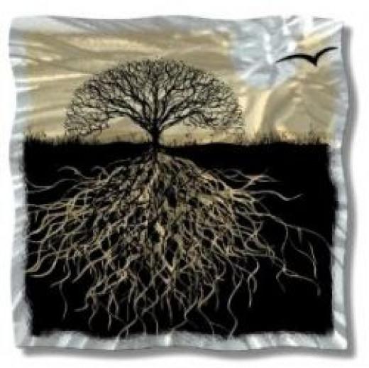 Abstract Tree Roots Metal Wall Art