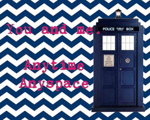 You and me.  Anytime  Anywhere - it's a TARDIS Valentine's Day Card from rapunzelscrafts.wordpress.com