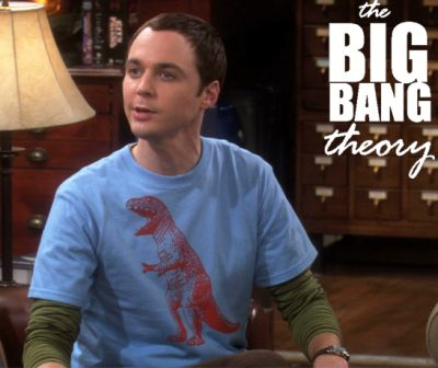 Here is Sheldon in his T-Rex shirt.   Notice the long sleeved T-shirt underneath.  this is from Entertainment Weekly.