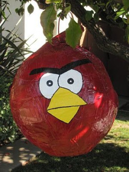Angry Birds Party Game - Homemade Angry Birds Pinata from homemadebeautiesbyheidi.blogspot.com