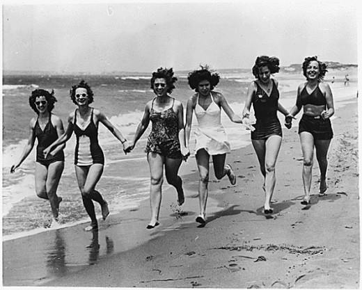 This is a picture taken in 1944 and it shows the bathing suit style from that era.  Imagine the shock on the faces of these ladies if they had been able to imagine today's bathing suit styles.   This picture is from Wikipedia and is in the public dom