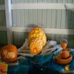 To recreate this Halloween pumpkin display you are going to need several pumpkins.  This is an Eskimo in his boat, his igloo and a Walrus. Now, you've got to admit, this is a unique theme for a carved pumpkin.