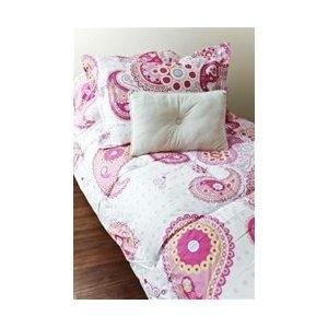 Cute Pink Paisley Dorm Comforter and Sham Set