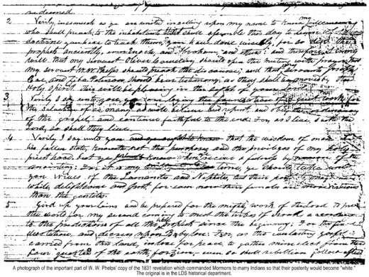 This document which belonged to William W. Phelps, declared that Native American women should be wed to Mormon men so that their children would be considered white.