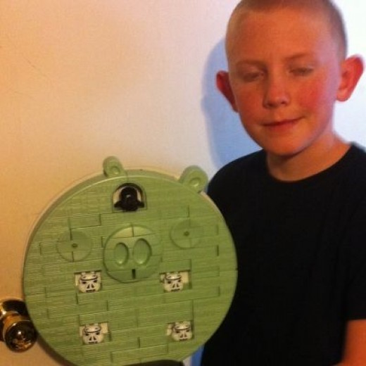 The Birthday Boy and His Star Wars Angry Birds Death Star:  Jenga at its Best!