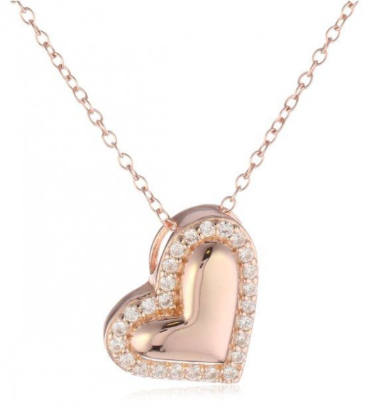 rose gold heart necklace for her