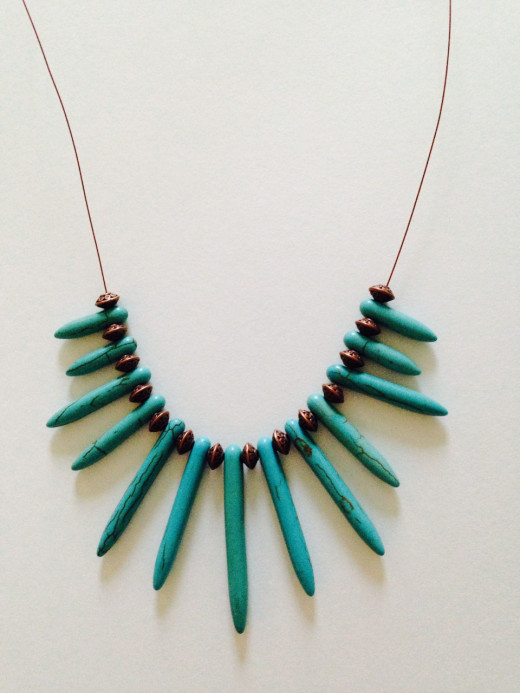 Turquoise and copper is another color combination I love. This necklace was a snap to make