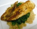 Pan Seared Tilapia with Sauteed Spinach and Quinoa