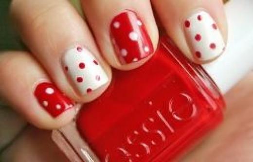 Red & White Polka Dot Nails