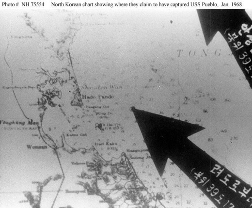 Picture of map released by North Korea showing location inside their territorial waters where they claimed they captured the USS Pueblo
