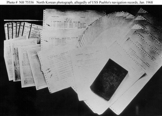 Photo of documents North Korean government claimed they captured from the USS Pueblo