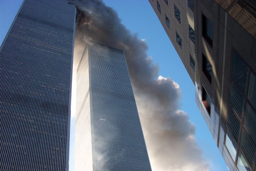 North Tower on fire