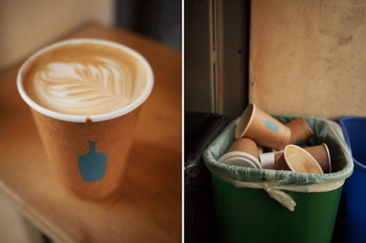 "The Kiosk is environmentally conscious, so they serve your beverage in a ""100% biodegradable, custom-logo-printed, natural-colored hot cup. When you're done, you can toss it right in the green compost bin along with its corn-based, polylactic acid li"