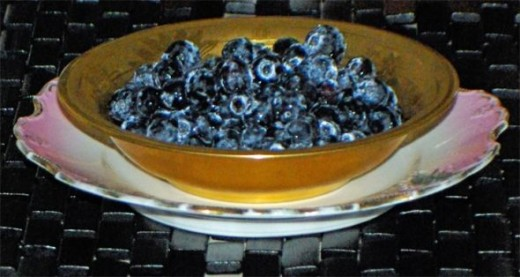 Blueberries in Gold Dish