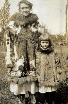 Grandma and Mom model their Alaskan furs.