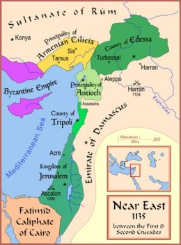 A Map of the Middle-East, with the Crusader States shown, in between the First and Second Crusades.