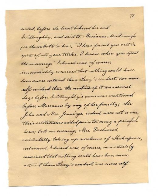 Jane Austen Handwriting