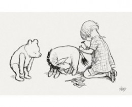 Eeyore, Pooh and Christopher Robin, as illustrated by E. H. Shephard. Public Domain.