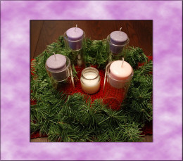 On the First Sunday of Advent, gather the family around the wreath, just before the evening meal.  Light the first candle - a purple one.  Traditionally, this candle can be lit by the youngest child in the family.  The head of the household (or any d