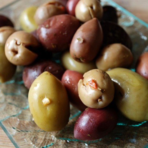 A party mix of olives.