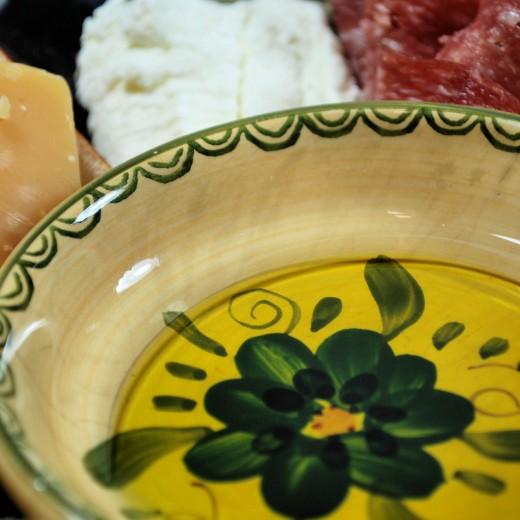 Truffle infused olive oil and orange blossum balsamic vinegar.