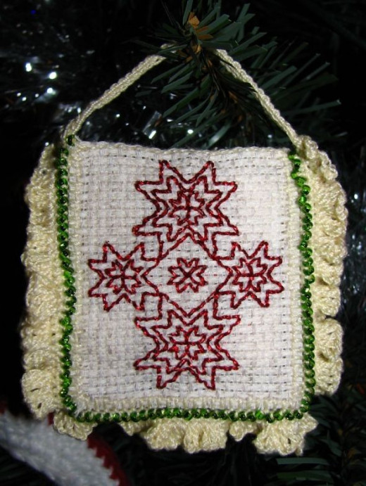Seed bead crocheted edging.