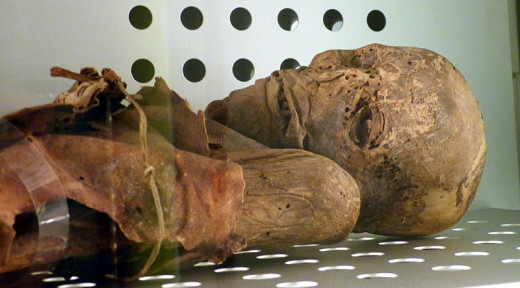 A Guanche mummy from the island of Tenerife.