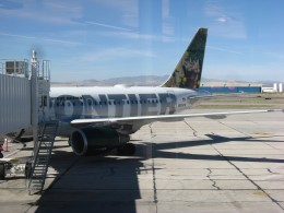 Frontier Airlines Jet at terminal in Tucson, AZ