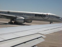 A Northwest Airlines taxing at Las Vegas Airport