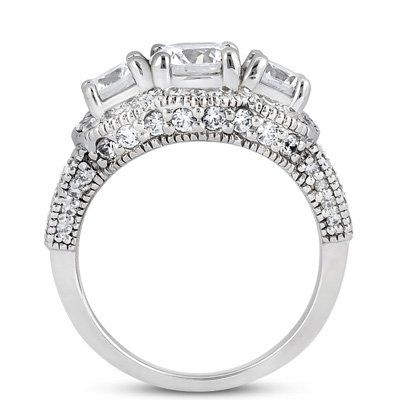 Real 2.25CT Vintage Diamond Engagement Ring for Sale (Side View)