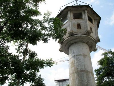 Photo: The Last Remaining Watch Tower, Berlin Wall