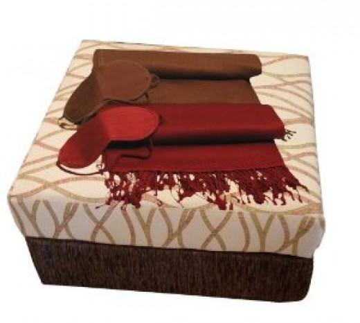 Peach Couture Cashmere and Silk Travel Throw & Eye Mask Set