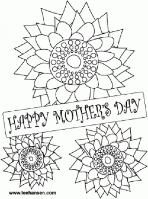 Mothers Day Flowers Coloring Card, LeeHansen.com