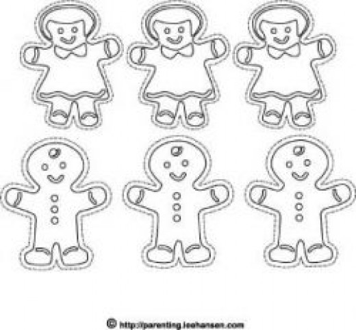gingerbread cookie ornaments to color and cut out