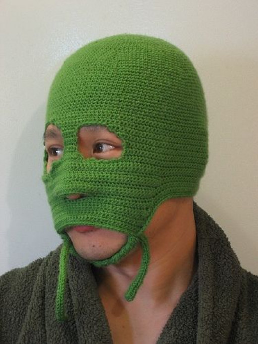 Green Crochet Face Mask