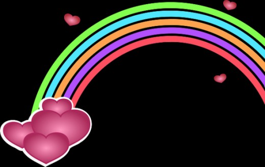 Hearts and rainbow clip art, pixabay public domain images