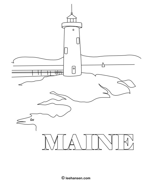 Maine lighthouse sketch adult coloring page