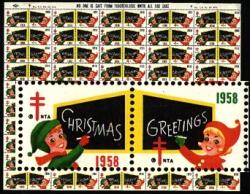 1958 Christmas Seal Stamps Sheet