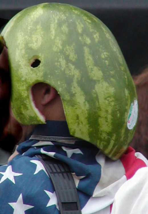 Carved watermelon helmet mask