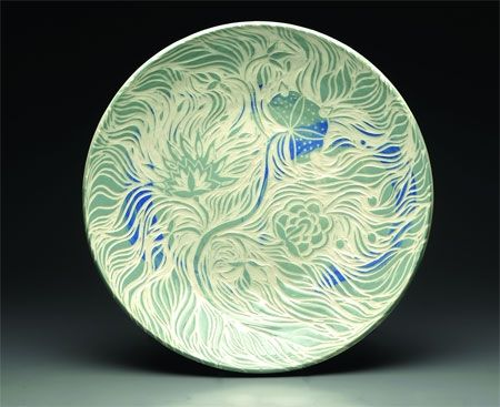 Handcrafted ceramic plate by Paula Barry, juried League of NH Craftsmen member
