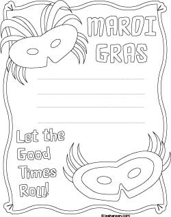 Mardi Gras coloring border sheet with lines for writing