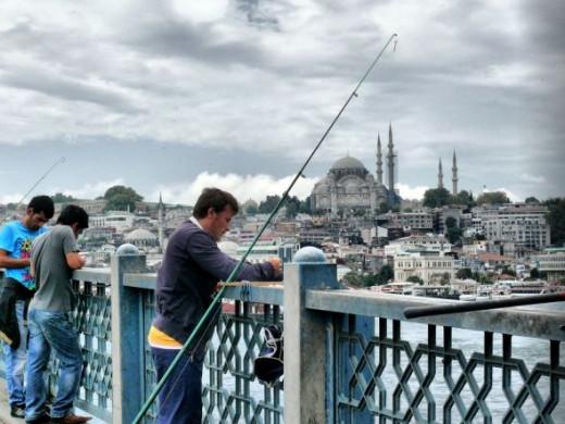 fisherman on Galata bridge