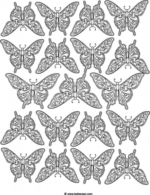 Adult coloring design: butterfly poster