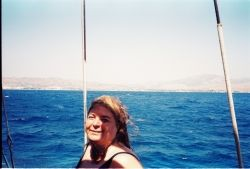 Mother liked to swim. I took this photo in  a boat trip Ayvalik-Turkey. She was 56.