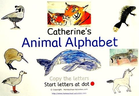 Catherine's Animal Alphabet, printable alphabet worksheets and coloring pages, Homeschool-Activities.com