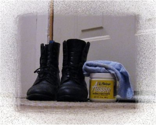 I keep some Aussie and a rag by the door to condition my boots as needed before I take them off