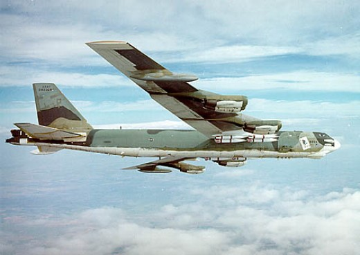 "B-52 Stratofortress 1954, used in Viet Nam, Desert Storm; called ""The Coconutknocker."""