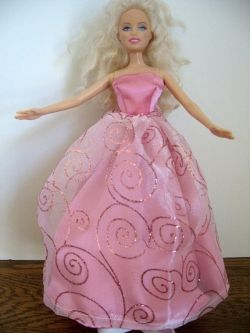 Pink Ball Gown Barbie Doll Dress