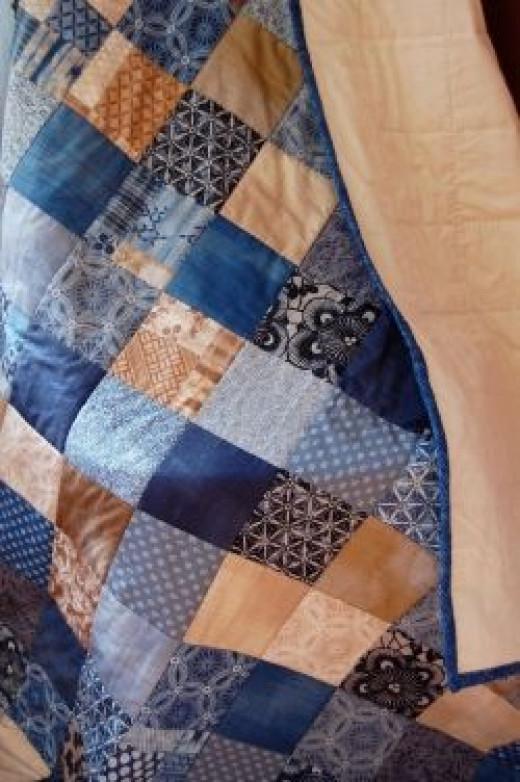 Moda Kasuri Quilt, Blue Patchwork, Throw Quilt