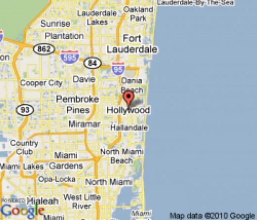 Map showing location of Hollywood, Florida